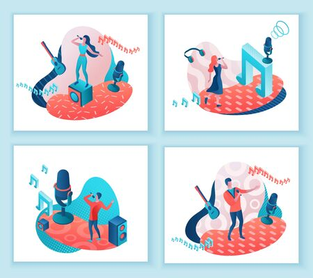 Singer 3d isometric vector illustration set, girl singing with microphone, trendy geometric patterns, music band artists, jazz fesival, cartoon collection of musical people, blue and coral color