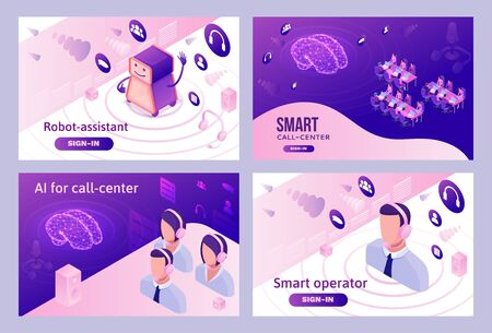 Artificial intelligence manages call center, isometric 3d vector illustration set, customer service and mobile support landing page, operator with headphone, contact centre concept Illusztráció