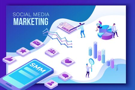 Social media marketing concept, 3d isometric infographic promotion campaign, online digital technology, business people analyze advertising report, content plan, seo optimisation vector illustration Illustration