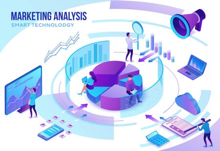 Marketing analysis concept, social media network, 3d isometric infographic promotion campaign, online technology, people analyze advertising report, content plan, seo optimisation illustration Illustration
