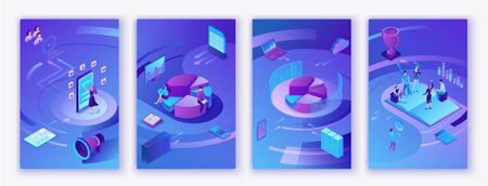 Data analysis center, business people analyze diagram, kpi analytics, digital technology in finance, AI concept, big research isometric vertical mobile template, teamwork 3d background Illustration