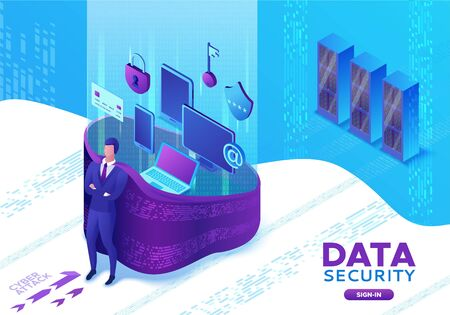 Data protection concept, cyber security 3d isometric vector illustration, firewall attack, phishing scam, information safety , laptop, computer, bank card