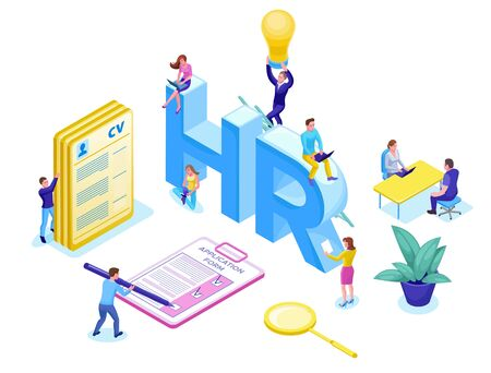 Job agency isometric infographic landing page template with 3d employer hiring talent worker, candidates search work via human resource mobile app, office business people, vector illustration