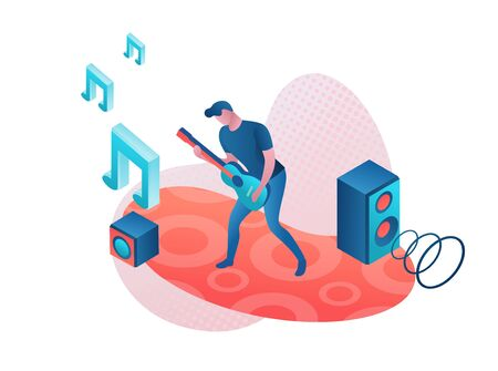 Guitar player 3d isometric infographic illustration, man playing rock music at festival, concert show poster template, color icon Illustration
