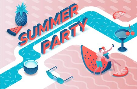 Pool party isometric 3d illustration with cartoon people in swimsuit, drinking cocktail, relax, dj, music, recreation spa concept, watermelon, orange, summer event background, leisure time Standard-Bild - 129173312