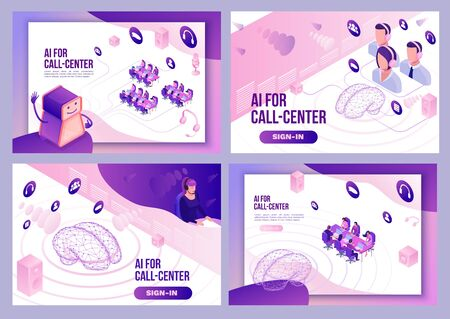 Artificial intelligence manages call center, isometric 3d vector illustration set, customer service and mobile support landing page, operator with headphone, contact centre concept
