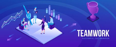 Teamwork 3d isometric illustration, employee win trophy, infographic hero leadership concept, business people in collaboration, successful person win cup, horizontal banner, website layout, ui