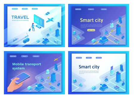 Mobile transportation online service landing page template set, travel booking app concept, 3d isometric vector, smart city, smartphone, airplane, bus, girl searching in internet, ux design