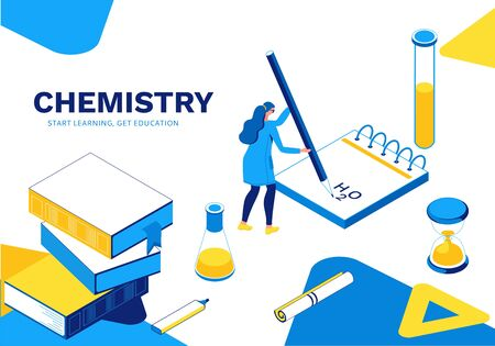 Chemisrty learning isometric landing page, laboratory research template, blue, yellow line art illustration, school lesson concept, chemical lesson learning, vector illustration