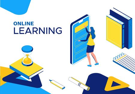 Online learning 3d isometric concept, landing page template, girl and mobile phone, digital education technology, distance study class, internet courses, webinar, blue, yellow line illustration
