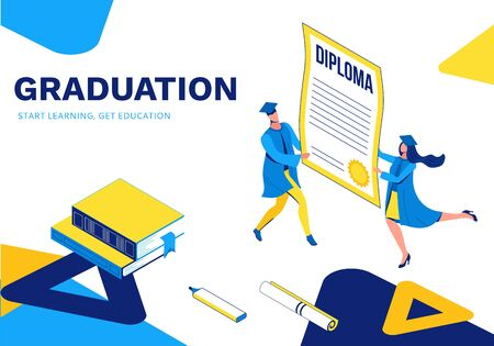 Graduation isometric illustration, 3d landing page with graduates holding diploma, cartoon character with certificate, success concept, highschool or college party, school boy and girl, blue, yellow