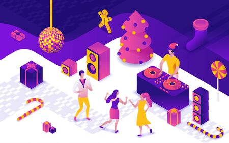 New year party 3d isometric illustration, dj playing club disco music, people dancing, christmas tree, present, holiday poster, night winter event vector concept, violet, yellow, pink colors