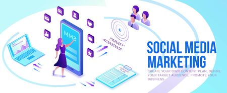 Social media marketing concept, 3d isometric infographic promotion campaign, online digital technology, business people analyze advertising report, content plan, seo optimisation horizontal banner Illustration
