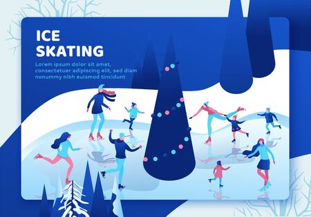 Ice skating isometric people landing page, 3d winter sport family, christmas tree decorated, kids playing and riding skate, simple skater, skating rink, outdoor snow games, ui, ux design