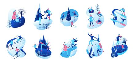 Isometric winter people, 3d vector illustration set, sport family ice skating, skiing, snowboarding, playing snowballs, kid on sleigh, simple skater, tubing, outdoor snow games, cartoon characters