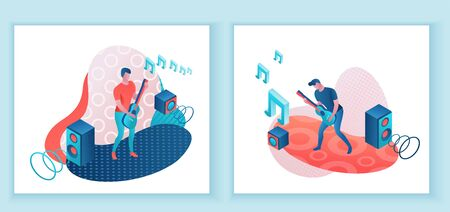 Guitar player 3d isometric infographic illustration set, man playing rock music, concert show poster template, band artists, jazz fesival, cartoon collection of musical people, blue and coral color