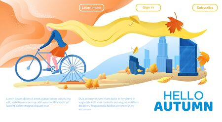 Girl on bicycle and autumn city landscape, yellow hair woman cycling at the park, modern urban scenery with skyscrapers background, cartoon illustration, landing page template Ilustracja