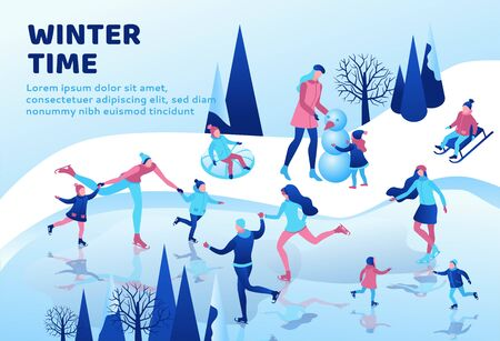 Winter isometric people landing page, 3d sport family ice skating, skiing, snowboarding, playing snowballs, simple skater, ski, tubing, riding at mountain, outdoor snow games, ui, ux design