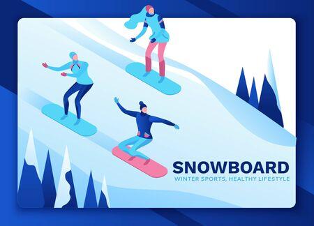 Snowboard izometryczni ludzie na stronie docelowej, 3d sporty zimowe człowiek na snowboardzie, jazda na górze, proste gry na świeżym powietrzu na śniegu, postacie z kreskówek, interfejs użytkownika, projektowanie ux