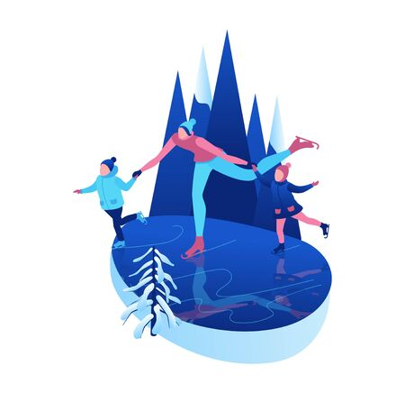 Ice skating isometric people, 3d winter sport family, christmas tree decorated, mother and kids playing and riding skate, simple skater, skating rink, outdoor snow games, cartoon characters Illusztráció