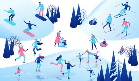 Winter isometric people set, 3d sport family ice skating, skiing, snowboarding, playing snowballs, simple skater, ski, tubing, riding at mountain, outdoor snow games, cartoon characters Illusztráció