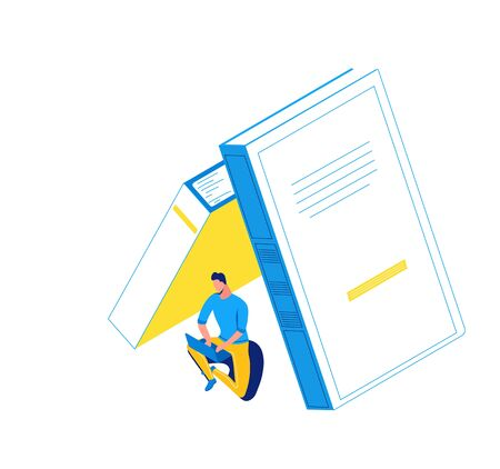 Man working on laptop under books, library isometric concept, learning people, 3d student isolated reading, learn lesson, school, college pupil, blue, yellow, modern creative character Иллюстрация