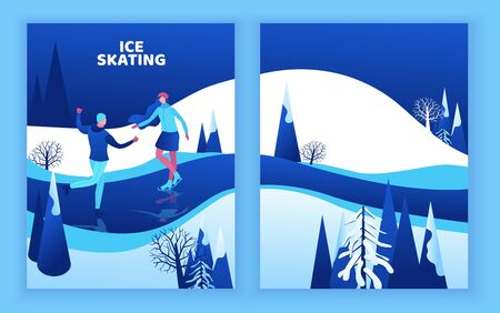 Ice skating couple, 3d isometric people, winter sport family, man and girl riding skate, simple skater, skating rink, outdoor snow games, minimal cartoon characters