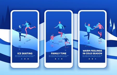Ice skating mobile app template set, vertical layout, smartphone ui design, isometric simple people illustration, 3d  winter sport family, romantic couple together, kids playing, skating rink 스톡 콘텐츠 - 131621444