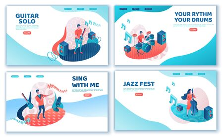 Musicians 3d isometric landing page set with trendy memphis geometric patterns, music band artists, jazz fesival background, piano, drum, cartoon collection of musical people, blue and coral color Иллюстрация