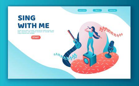 Zanger wedstrijd 3d isometrische bestemmingspagina, kleurrijke illustratie, meisje zingt met microfoon, radiopersoon, luister muziek, websitesjabloon, ui, ux-ontwerp Vector Illustratie