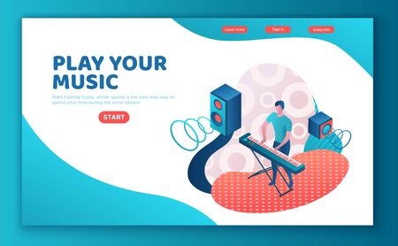 Man playing synthesizer, musician with piano, music show or concert concept, 3d isometric illustration Stock Illustratie
