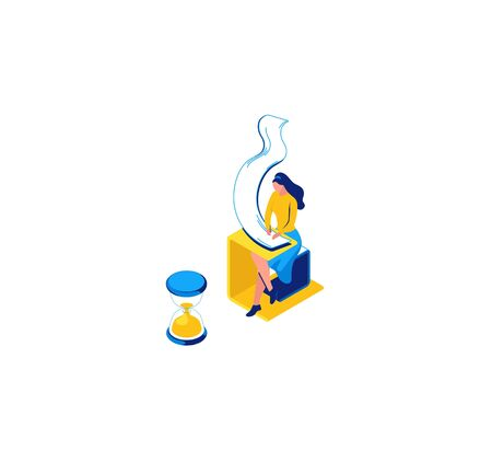 Girl learning, writing notes in copybook, isometric concept, learning people, 3d student isolated reading, learn lesson, hourglass, school, college pupil, blue, yellow, modern creative character