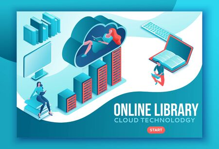 Library online isometric landing page, digital education concept, people read book on laptop, study dictionary at university, cloud computing, information database, website template design Фото со стока - 134355036