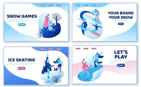 Winter sports landing page template set, ski, snowboard, people together, ui design layout, ice skating simple family, isometric minimal people illustration, vector sport, skating rink, tubing