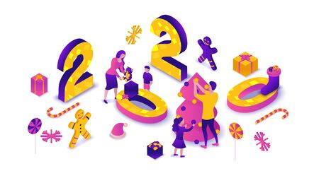 New year 2020 isometric 3d illustration, family celebrating winter holiday party, christmas concept, parents, children decorating tree, present, cartoon people together, violet, pink, yellow color