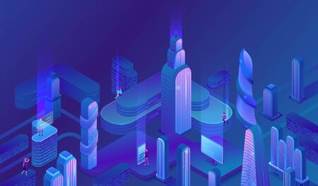 Smart city futuristic isometric city vector illustration, night neon skyscraper, future trends concept, modern business center, urban landscape, gradient color design, office building, people, gadgets