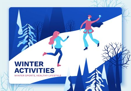 Winter isometric people, girls playing snowballs, snowman, happy 3d vector sport family playing, outdoor activity, snow games, simple cartoon characters, ui, ux design Иллюстрация