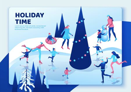 Winter isometric people landing page, 3d vector sport family ice skating, christmas tree decorated, playing snowballs, simple skater, tubing, riding at mountain, outdoor snow games, ui, ux design 版權商用圖片 - 131749934
