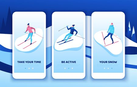 Skiing mobile app template set, vertical layout, smartphone ui design, simple isometric people, 3d vector sportsman playing outdoor games, winter activity, ski riding, skier at mountain, outdoor games