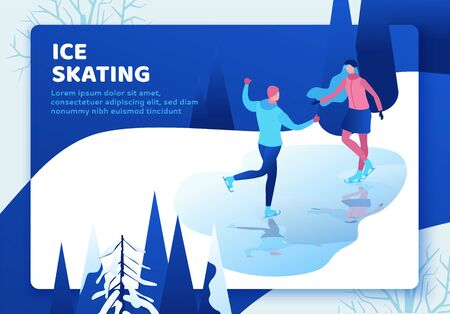 Ice skating couple, 3d isometric people on landing page, vector winter sport family, man and girl riding skate, simple skater, skating rink, outdoor snow games, minimal cartoon characters Иллюстрация
