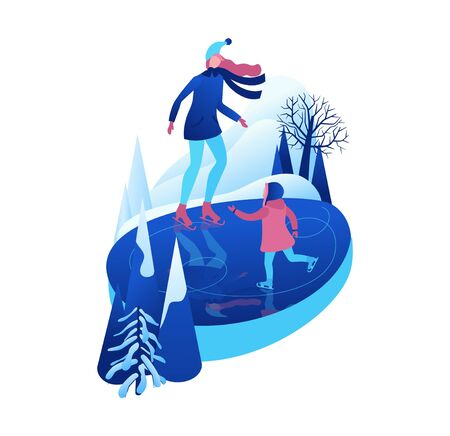 Ice skating isometric people, 3d vector winter sport family, christmas tree decorated, mother and kid playing and riding skate, simple skater, skating rink, outdoor snow games, cartoon characters
