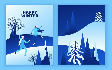Winter greeting card, isometric people, man and girl playing snowballs, snowman, happy romantic couple, 3d vector sport family playing, outdoor activity, snow games, simple cartoon characters, design