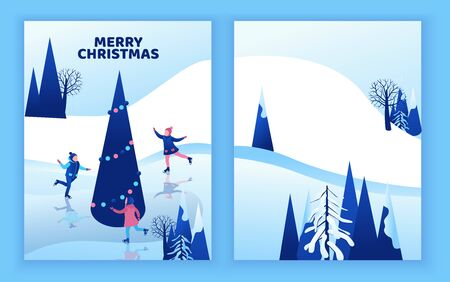 Ice skating greeting card, isometric kids, 3d vector winter people, sport family, christmas tree decorated, children playing and riding skate, simple skater, rink, outdoor snow games, minimal design Иллюстрация