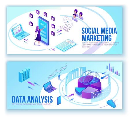 Data analysis, business people analyze diagram, kpi analytics, digital technology in finance, social media marketing banner set concept, big research isometric illustration, teamwork 3d background Иллюстрация