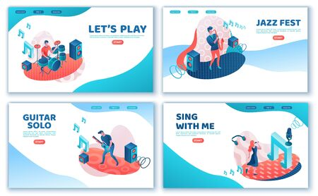 Singer 3d isometric landing page set, girl singing with microphone, trendy geometric patterns, music band artists, jazz fesival, cartoon collection of musical people, blue and coral color