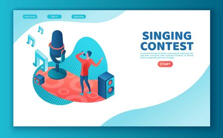 Singer 3d isometric vector colorful illustration, landing page template, man singing with microphone, landing page template, radio person Иллюстрация