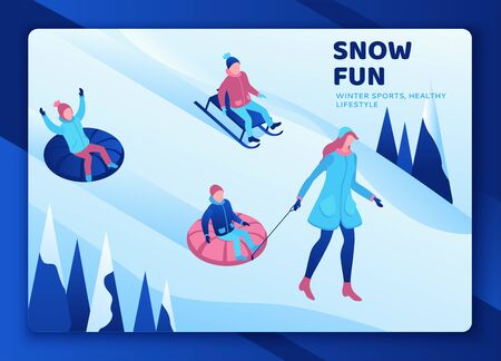 Kids riding tubing, winter isometric people set, 3d vector sport family playing, outdoor snow games, simple cartoon characters, mother with children Ilustrace