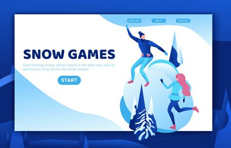 Winter isometric people, man and girl playing snowballs, snowman, happy romantic couple, 3d vector sport family playing, outdoor activity, snow games, simple design cartoon characters Иллюстрация