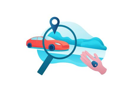 City transport concept, car sharing service, rent vehicle by smartphone, businessman order ride, rental mobile app, magnifying glass, flat vector design, turquoise, red color Иллюстрация