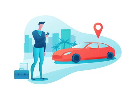 Man rent car by smartphone, automobile share, businessman order ride, rental service template, mobile app concept, transport sharing concept, flat vector design, turquoise, red color